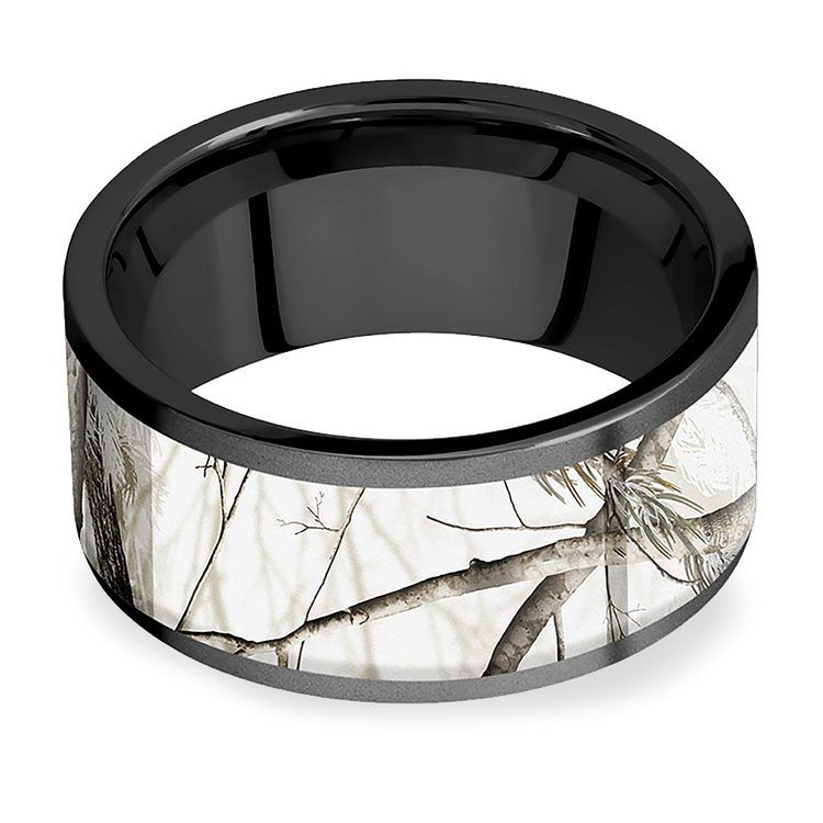 Snowy Mountain Morning - Zirconium Mens Band with Camo Inlay | 03