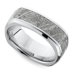 Kosmonaut - Square Cobalt Mens Wedding Ring with Meteorite Inlay