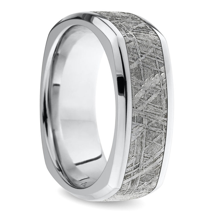 Kosmonaut - Square Cobalt Mens Wedding Ring with Meteorite Inlay | 02