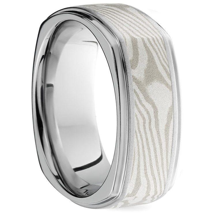 Square Grooved Edge Mokume Men's Wedding Ring in Cobalt | 02