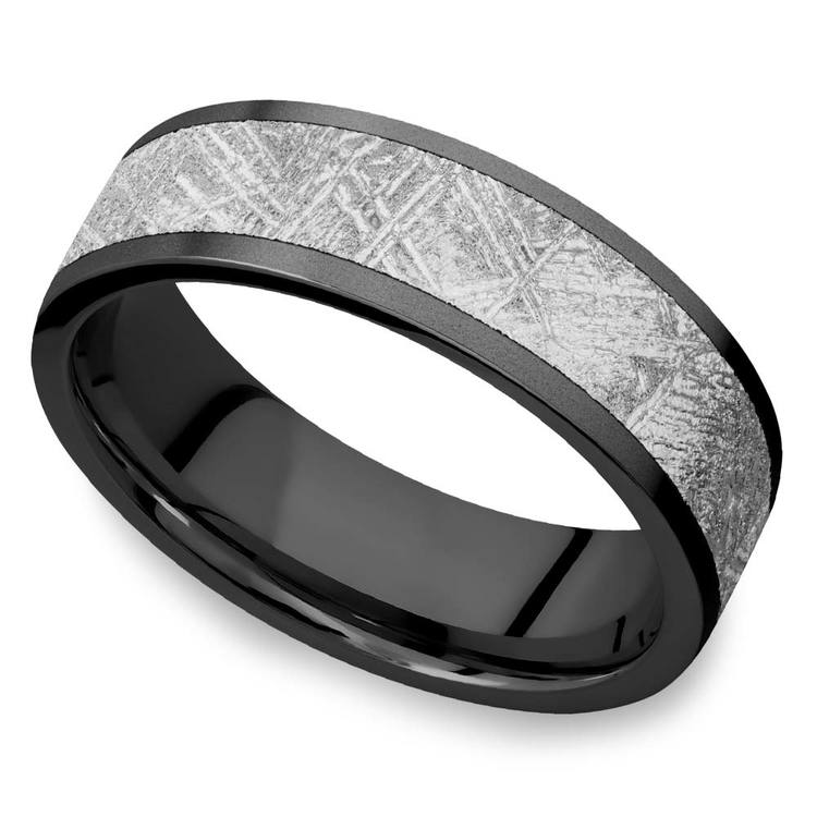 Stardust - Sandblasted Mens Meteorite Ring in Zirconium | 01