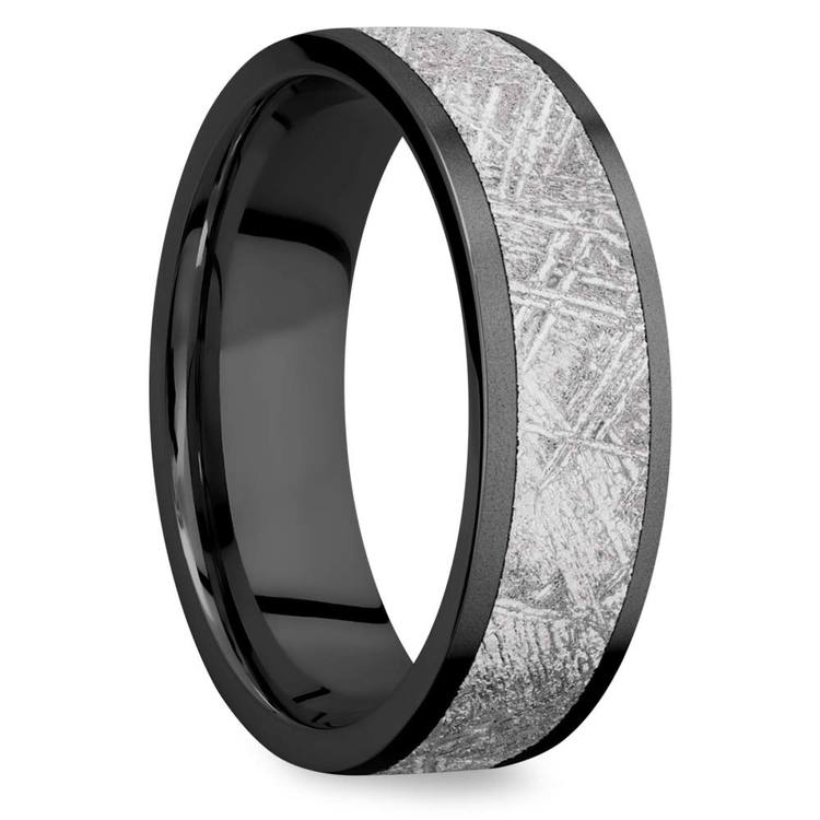 Stardust - Sandblasted Mens Meteorite Ring in Zirconium | 02