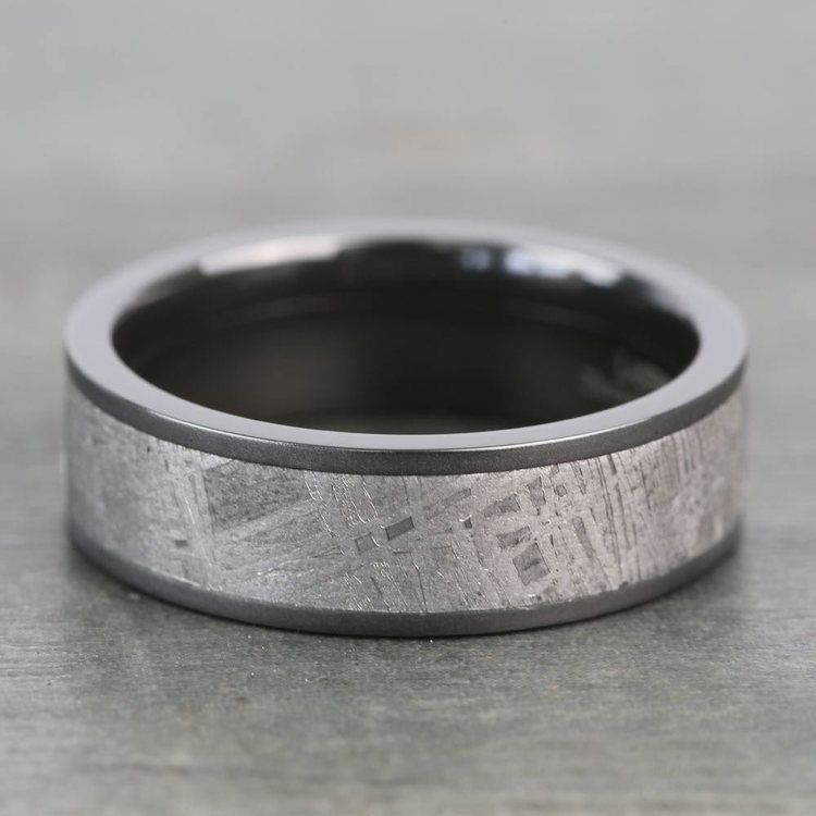 Stardust - Sandblasted Mens Meteorite Ring in Zirconium | 04