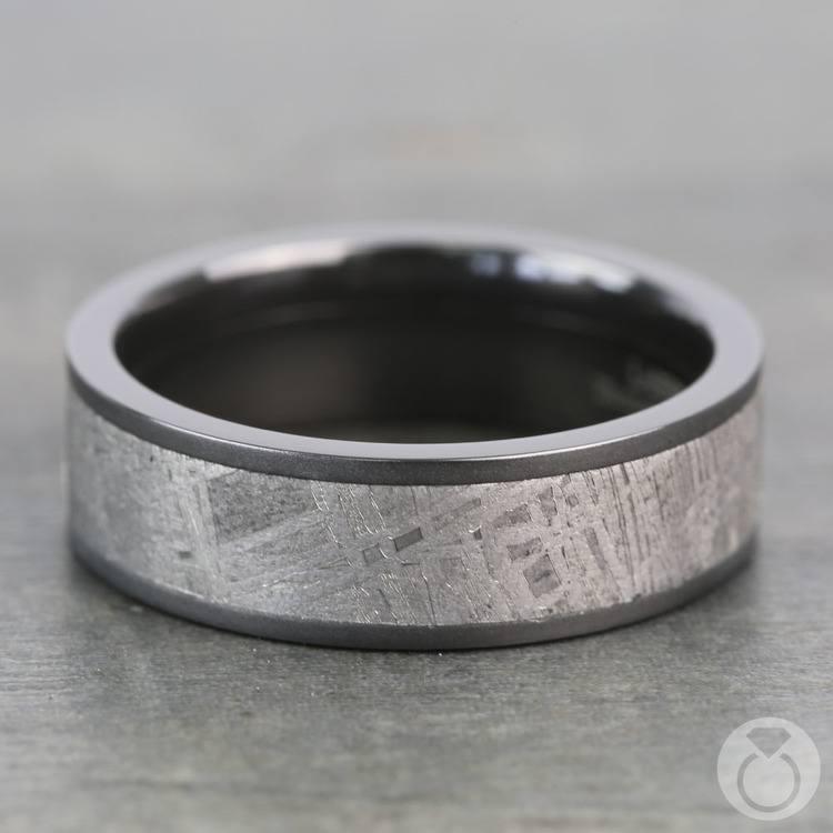 Stardust - Sandblasted Mens Meteorite Ring in Zirconium | 03