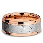 Steeped Bezel Meteorite Inlay Men's Wedding Ring in 14K Rose Gold | Thumbnail 03