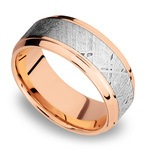 Steeped Bezel Meteorite Inlay Men's Wedding Ring in 14K Rose Gold | Thumbnail 01