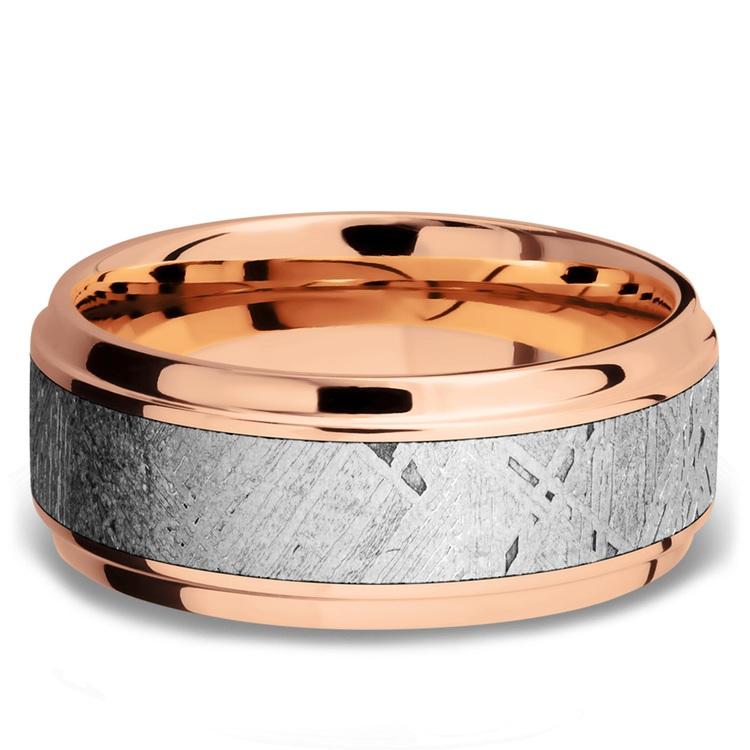 Steeped Bezel Meteorite Inlay Men's Wedding Ring in 14K Rose Gold | 03