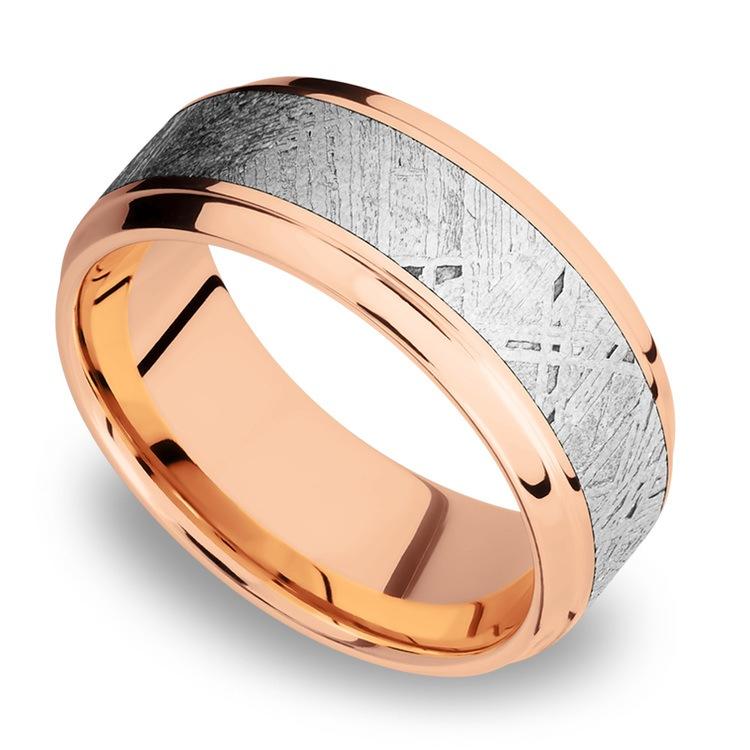 Steeped Bezel Meteorite Inlay Men's Wedding Ring in 14K Rose Gold | 01