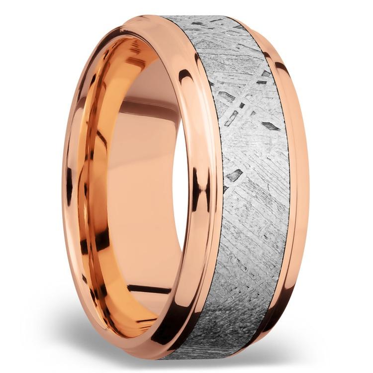 Steeped Bezel Meteorite Inlay Men's Wedding Ring in 14K Rose Gold | 02