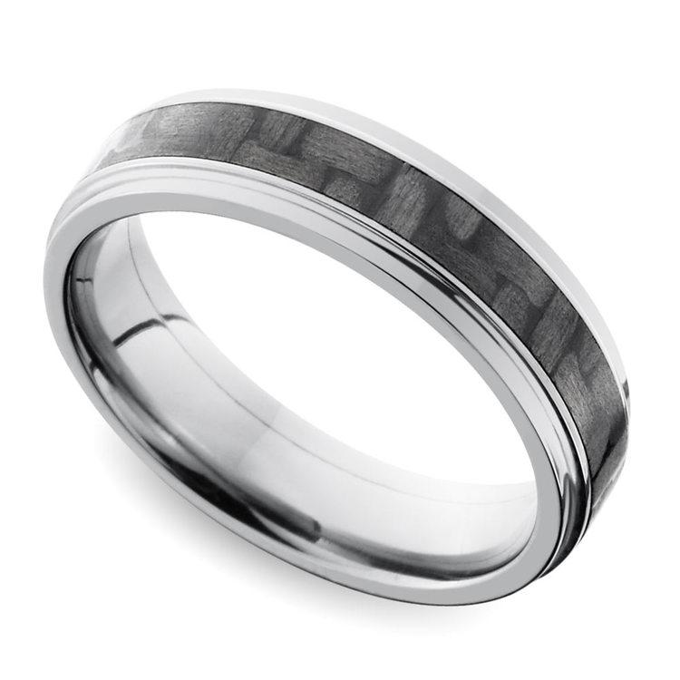 Step Edge Carbon Fiber Inlay Men's Wedding Ring in Titanium | 01