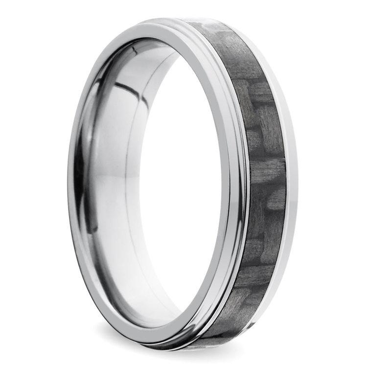 Step Edge Carbon Fiber Inlay Men's Wedding Ring in Titanium | 02