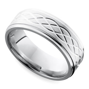 Step Edge Celtic Men's Wedding Ring in Cobalt (10 mm)