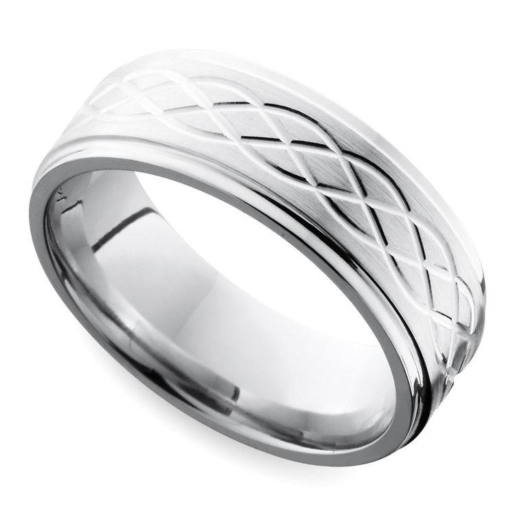 Step Edge Celtic Men's Wedding Ring in Cobalt (7 mm) | 01