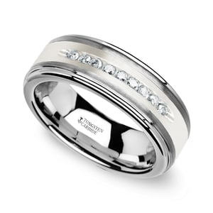 Step Edge Channel Set Men's Diamond Wedding Ring in Tungsten
