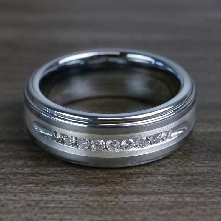 Step Edge Channel Set Men's Diamond Wedding Ring in Tungsten | 04