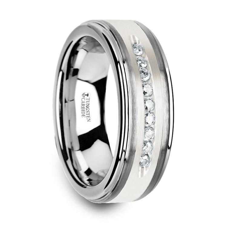 Step Edge Channel Set Men's Diamond Wedding Ring in Tungsten | 02