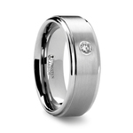 Step Edge Inset Diamond Men's Wedding Ring in Tungsten (8 mm) | Thumbnail 02