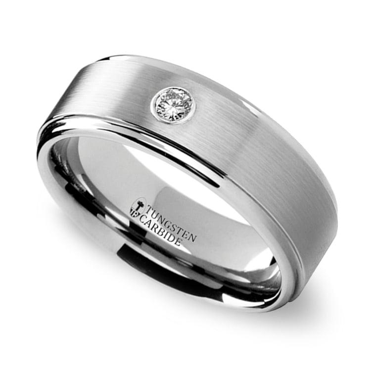 Step Edge Inset Diamond Men's Wedding Ring in Tungsten (8 mm) | 01