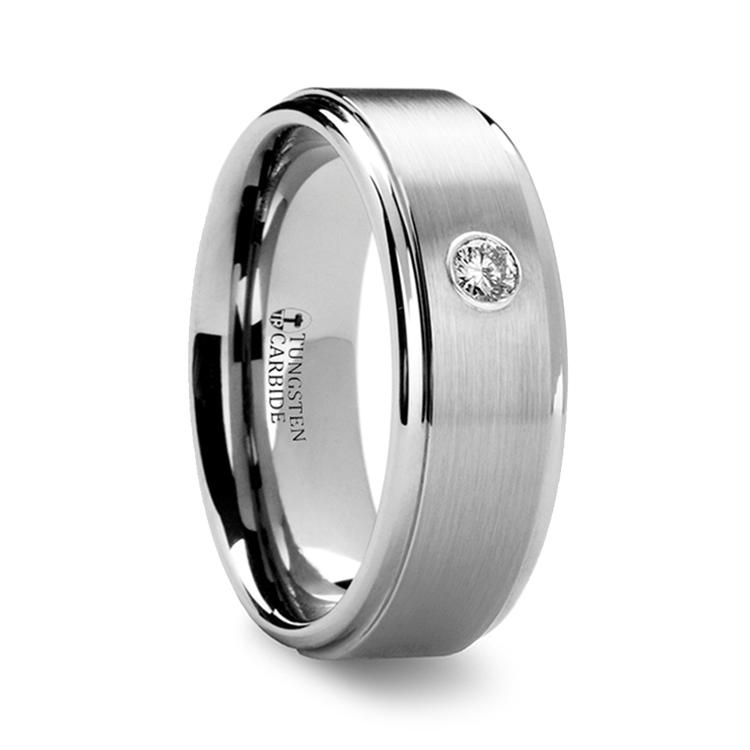 Step Edge Inset Diamond Men's Wedding Ring in Tungsten (8 mm) | 02