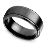 Step Edge Men's Wedding Ring in Black Titanium | Thumbnail 01