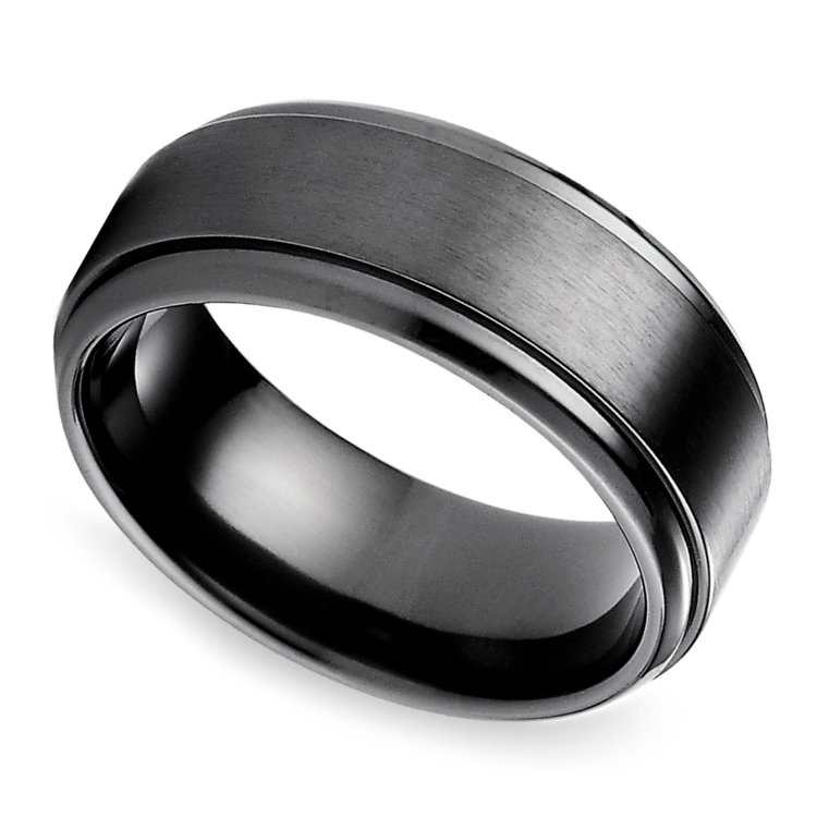 Mens Wedding Bands Titanium.Step Edge Men S Wedding Ring In Black Titanium