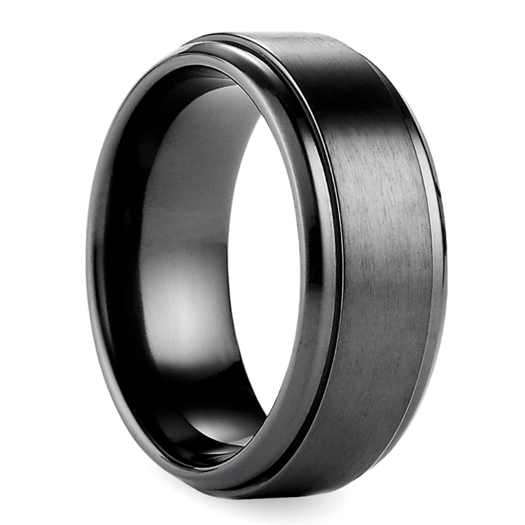 Step Edge Men's Wedding Ring in Black Titanium | 02
