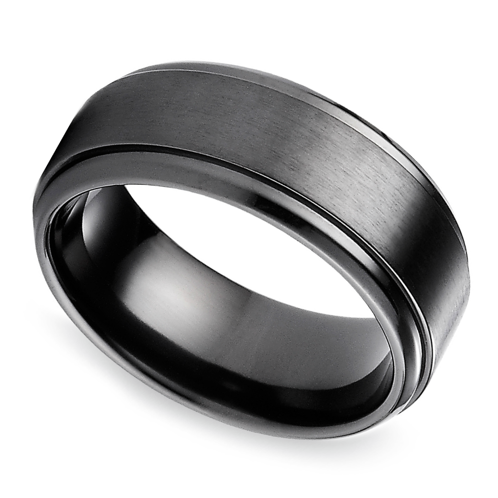 step edge mens wedding ring in black titanium - Titanium Mens Wedding Rings