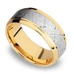 Stepped Bevel Meteorite Inlay Men's Wedding Ring in 14K Yellow Gold | Thumbnail 01
