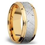 Stepped Bevel Meteorite Inlay Men's Wedding Ring in 14K Yellow Gold | Thumbnail 02
