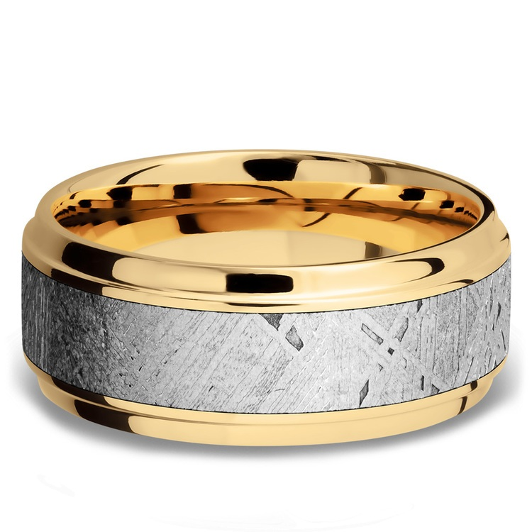 Stepped Bevel Meteorite Inlay Men's Wedding Ring in 14K Yellow Gold | 03