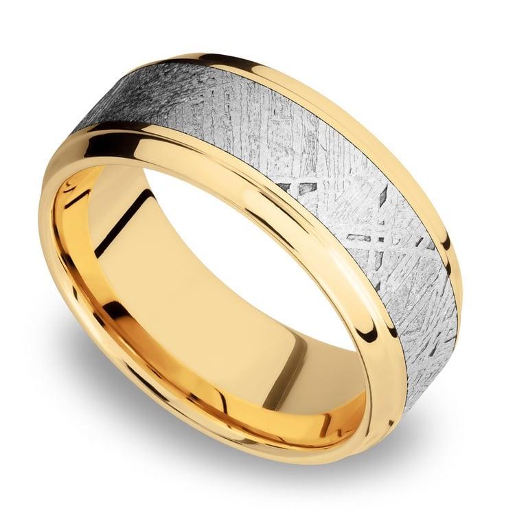 Stepped Bevel Meteorite Inlay Men's Wedding Ring in 14K Yellow Gold | 01