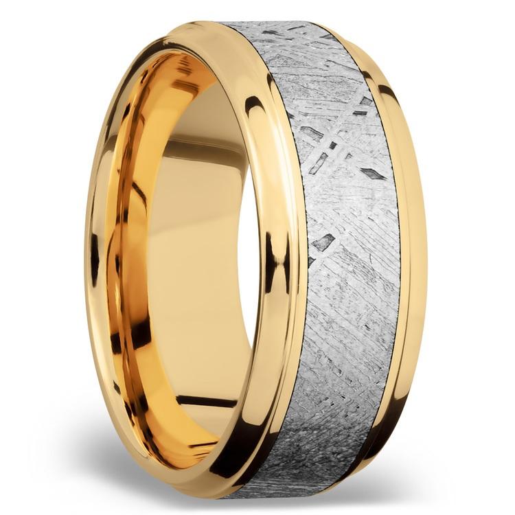 Stepped Bevel Meteorite Inlay Men's Wedding Ring in 14K Yellow Gold | 02