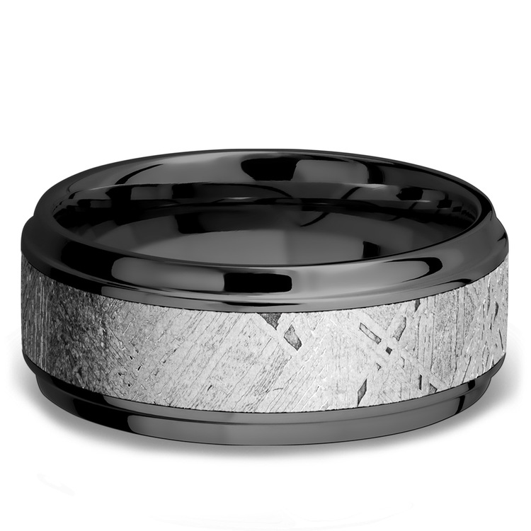 Stepped Bevel Meteorite Inlay Men's Wedding Ring in Zirconium | 03
