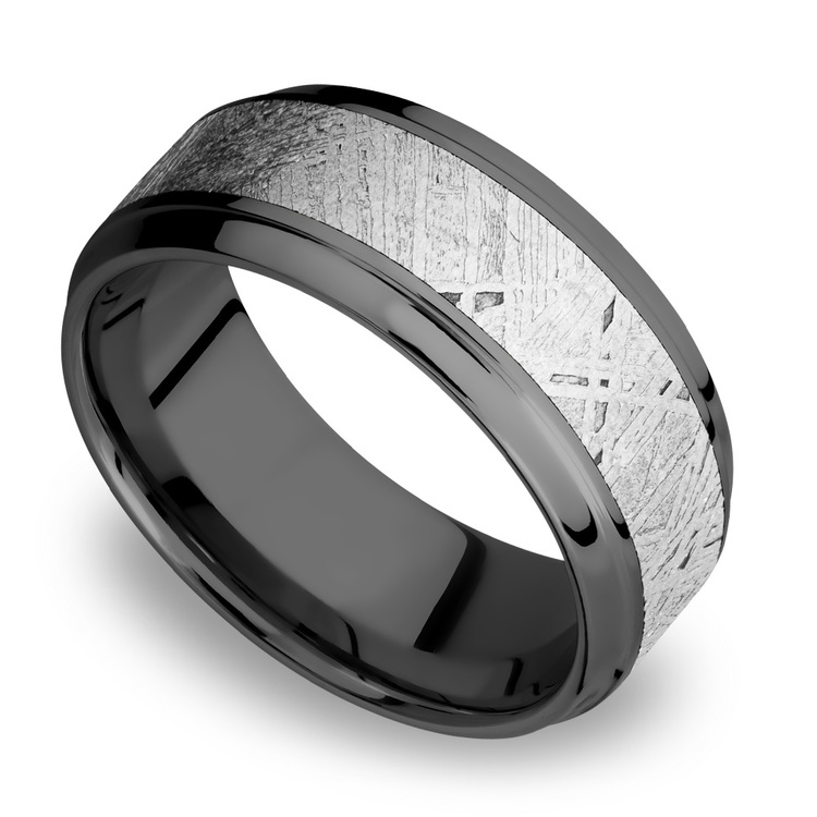 Stepped Bevel Meteorite Inlay Men's Wedding Ring in Zirconium | 01
