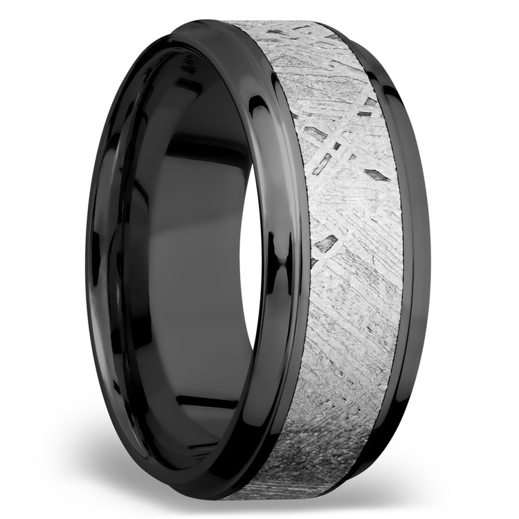 Stepped Bevel Meteorite Inlay Men's Wedding Ring in Zirconium | 02