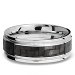 Stepped Edges Carbon Fiber Inlay Men's Wedding Ring with Milgrain Accent in 14K White Gold | Thumbnail 03