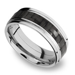 Stepped Edges Carbon Fiber Inlay Men's Wedding Ring with Milgrain Accent in 14K White Gold | Thumbnail 01