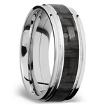 Stepped Edges Carbon Fiber Inlay Men's Wedding Ring with Milgrain Accent in 14K White Gold | Thumbnail 02