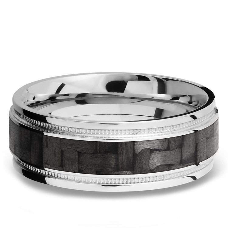 Stepped Edges Carbon Fiber Inlay Men's Wedding Ring with Milgrain Accent in 14K White Gold | 03