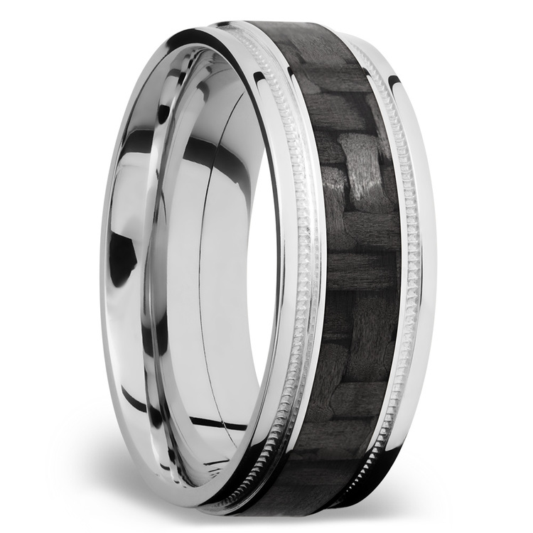 Stepped Edges Carbon Fiber Inlay Men's Wedding Ring with Milgrain Accent in 14K White Gold | 02