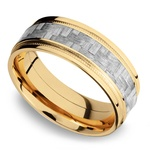 Stepped Edges Silver Carbon Fiber Men's Wedding Ring with Milgrain Accent in 14K Yellow Gold | Thumbnail 01