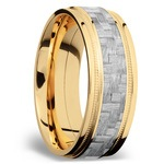 Stepped Edges Silver Carbon Fiber Men's Wedding Ring with Milgrain Accent in 14K Yellow Gold | Thumbnail 02