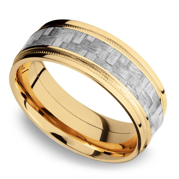 Stepped Edges Silver Carbon Fiber Men's Wedding Ring with Milgrain Accent in 14K Yellow Gold | 01
