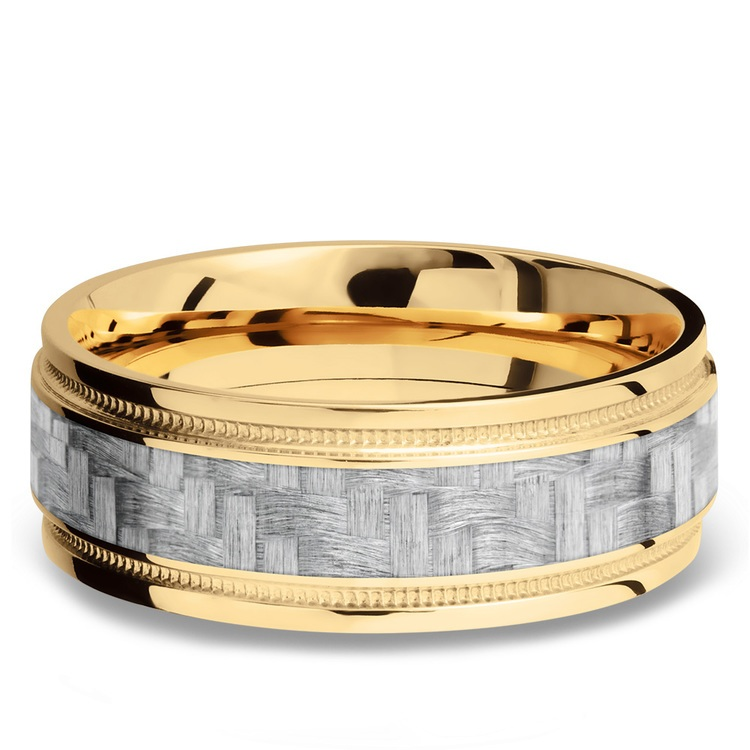 Stepped Edges Silver Carbon Fiber Men's Wedding Ring with Milgrain Accent in 14K Yellow Gold   03