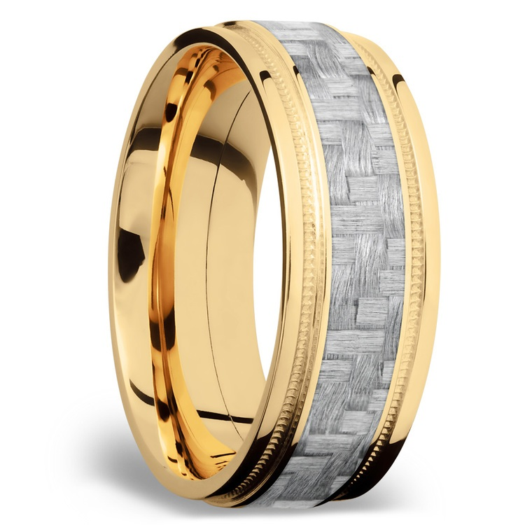 Stepped Edges Silver Carbon Fiber Men's Wedding Ring with Milgrain Accent in 14K Yellow Gold | 02