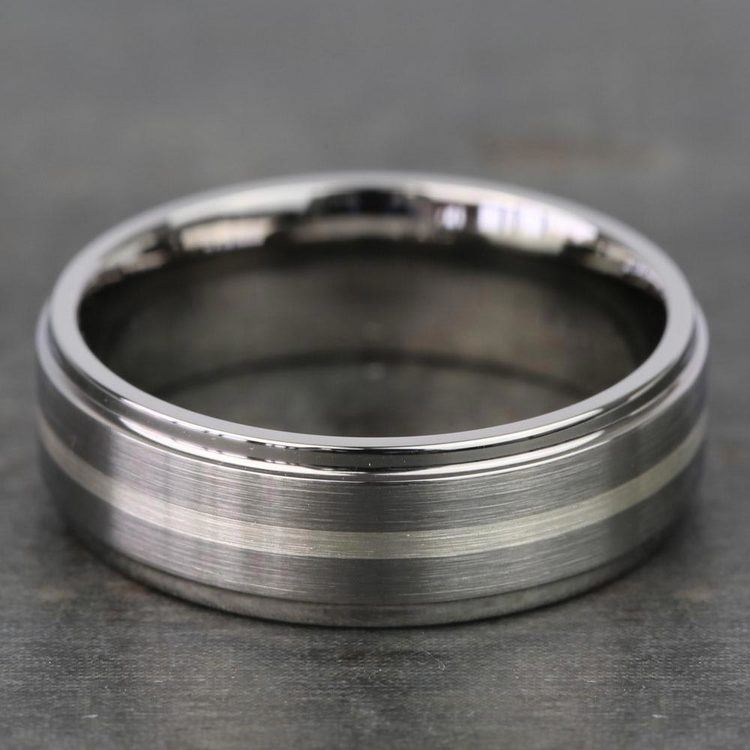 Stepped Edges Sterling Silver Inlay Men's Wedding Ring in Titanium | 03