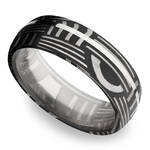 Sterling Silver Inlay Basketweave Men's Wedding Ring in Damascus Steel | Thumbnail 01