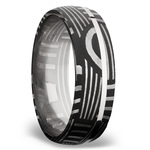 Sterling Silver Inlay Basketweave Men's Wedding Ring in Damascus Steel | Thumbnail 02