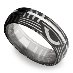 Sterling Silver Inlay Basketweave Men's Wedding Ring in Damascus Steel