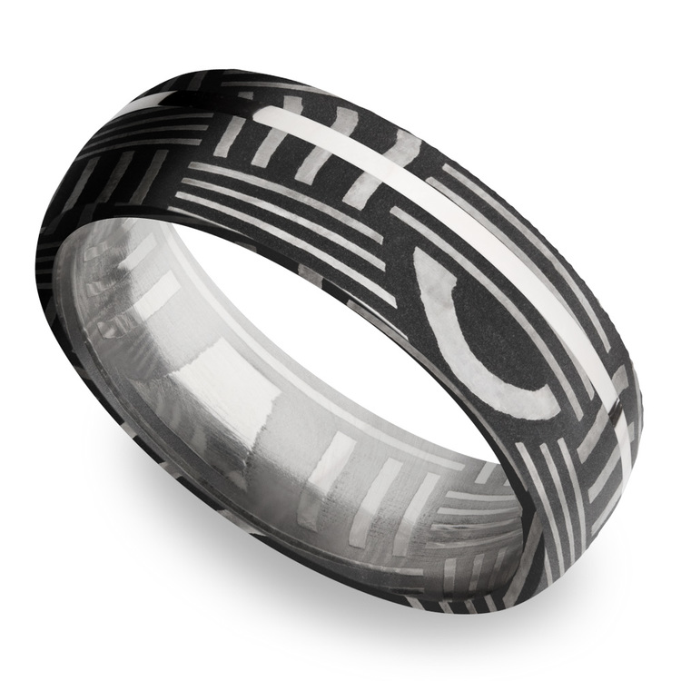 Sterling Silver Inlay Basketweave Men's Wedding Ring in Damascus Steel | 01